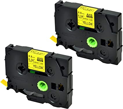 """2PK HSe621 Black on Yellow Heat Shrink Tubes Tape for Brother PT-H300 E500 0.34/"""""""