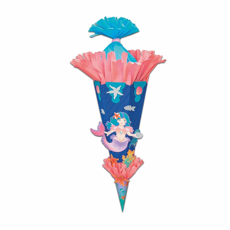 Schult/üten Bastelset EINHORN Vorgestanzte Motivb/ögen Schult/ütenrohling 68 cm Wellpappe 3d Klebepads Fotokarton zum ausschneiden Glitterkarton zum ausschneiden Chenilledraht Krepppapier