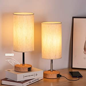 Bedside Lamp with USB Port - Touch Control Table Lamp for Bedroom Wood 3 Way Dimmable Nightstand Lamp Set of 2 with Round Flaxen Fabric Shade for Living Room, Kids Room, College Dorm, Office (2 Pack)
