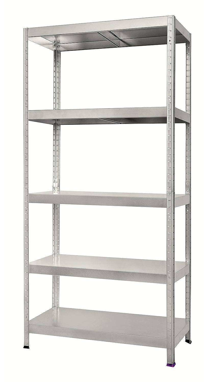 Boltless warehouse storage racking with 5 shelves. Graphite 180 x 80 x 40 cm, 90 kg per Shelf Hans Schourup 13501120