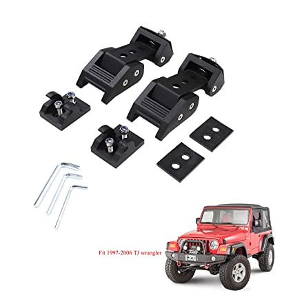 TJ Hood Latch Hood Lock Catch JeCar Aluminum Hood Latches Catch Kit for Jeep Wrangler TJ Accessories 1997-2006