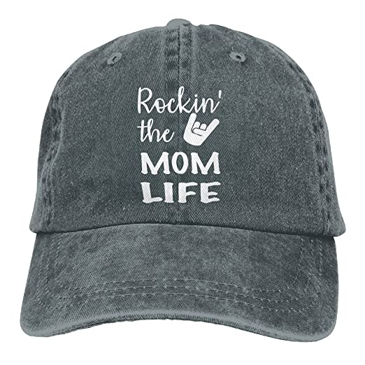 Rockin  The Mom Life Funny Mom Hat Baseball Cap Washed Denim Cotton  Adjustable Hat Dad 31e5a4ddd07
