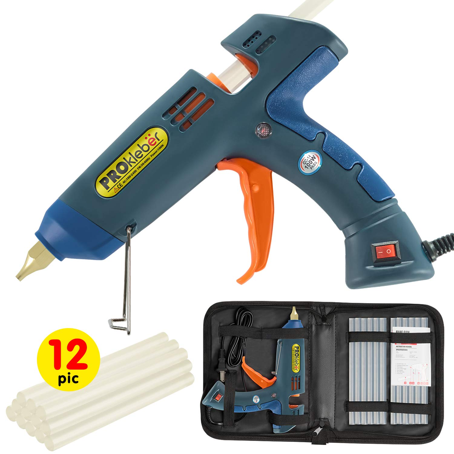 Hot Melt Glue Gun Kit 100 Watt with Carry Bag and 12 pcs Glue Sticks, for DIY, Arts & Crafts Projects, Sealing and Quick Repairs, Light and Heavy Duty in Home and Office by PROkleber