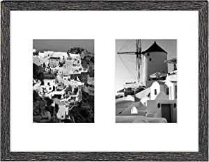 Golden State Art, 11x14 Distressed Black Wood Frame with White Mat - Displays Two 5x7 Photos - Real Glass, Sawtooth Hangers, Swivel Tabs - Wall Mounting, Landscape, Portrait