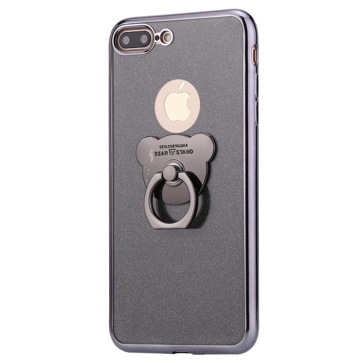 SainCat Custodia Ultra Slim Morbido Silicone Orso Bling Glitter Orso Case Gomma TPU Antiurto Supporto Anello Cover Compatibile con iPhone 7 Plus/8 Plus-Oro Rosa