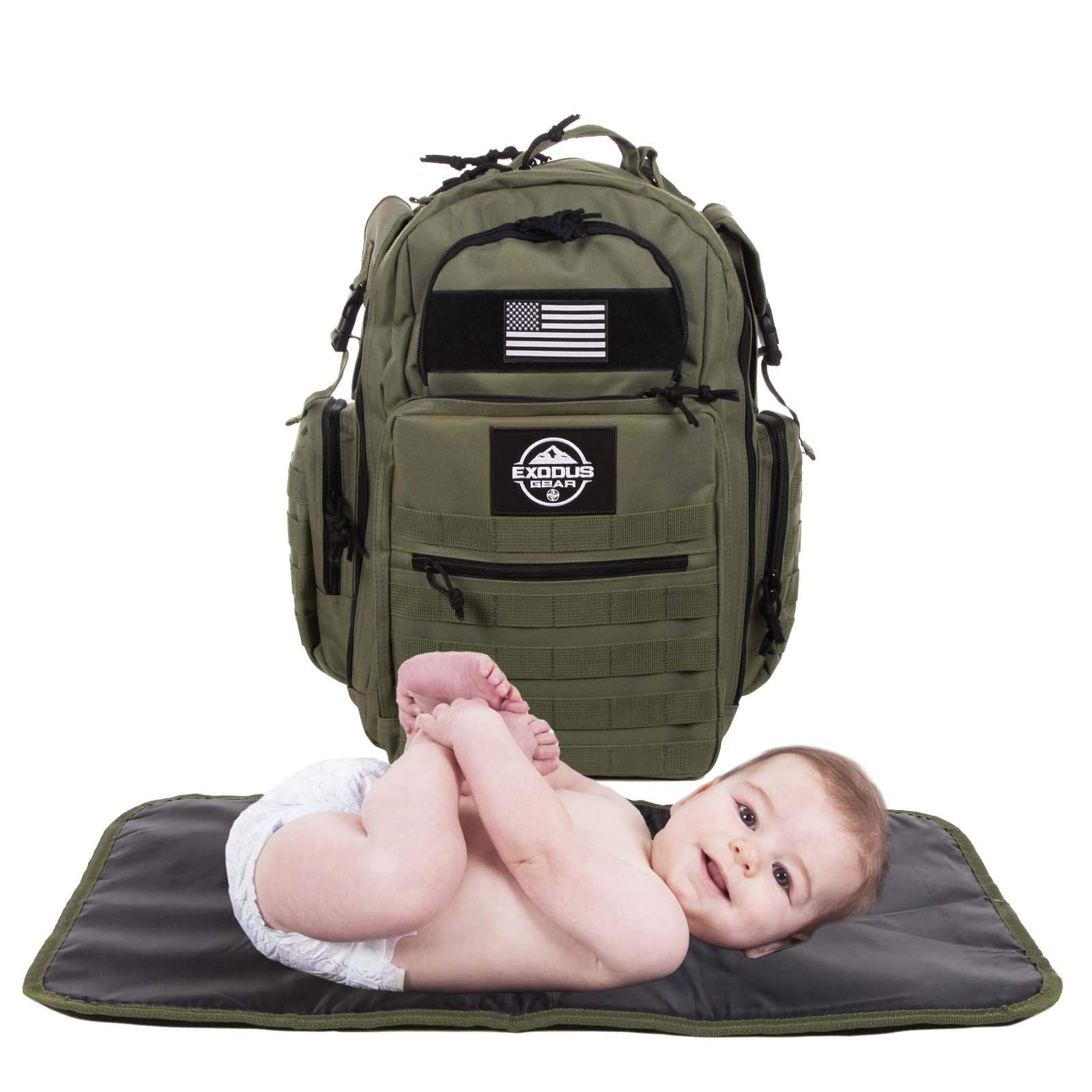 Diaper Bag Backpack by Exodus Gear + Adventure Diaper Bag with Changing Pad + Daddy Diaper Bag for Men and Woman + Hiking Diaper Bag + Dad Diaper Bag + Unisex Diaper Bag + Baby Care (Green) by Exodus Gear (Image #4)