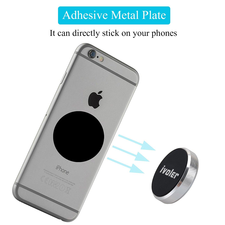 Argento 3 Pack iVoler Supporto Auto Smartphone Magnetico con Adesivo 3M Attaccano su Cruscotto Universale Porta Cellulare Magnetici con 6 Placche Metalliche per iPhone Samsung Galaxy