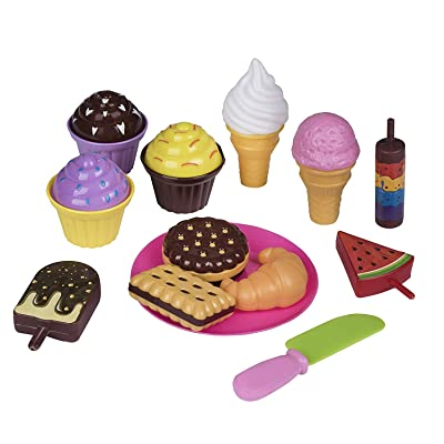 Playkidz Pretend Pastry Food, Pretend Play Set Toy Food, Educational Fun Little Pastries for Childrens Play Kitchen, Assortment of Fake Cookies, Cupcakes, Ice Cream etc.: Toys & Games