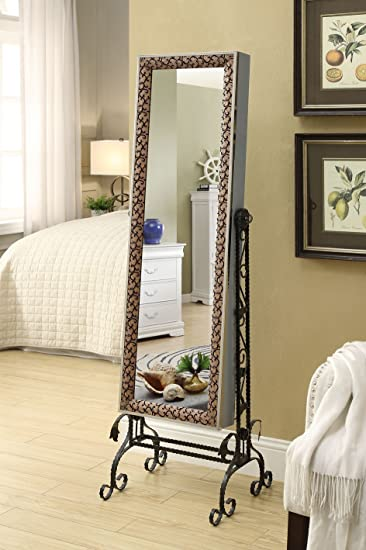 Amazing Mirrored Jewelry Cabinet Armoire Organizer W Stand Tilting Mirror Bins  Drawers Hooks And Bars