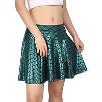 HDE Womens Shiny Mermaid Fish Scale Mini Flared Pleated Skater Skirt (Teal Medium)