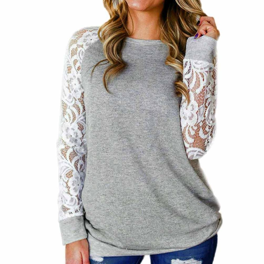 Seaintheson 2018 Women Fashion Long Sleeve Floral Splicing Casual O-Neck T-Shirt Blouse Tops Black