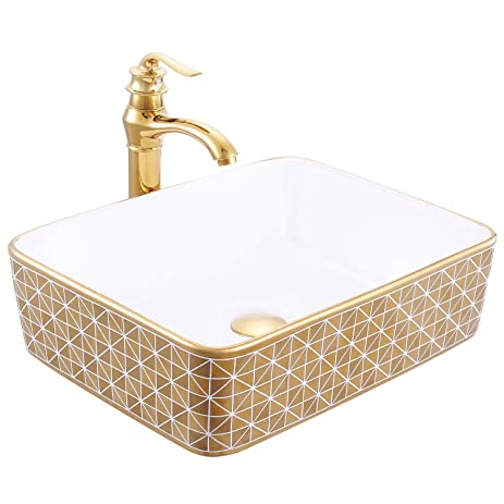 Walcut Gold Rectangle Ceramic Porcelain Bathroom Vessel Sink Stainless  BrassFaucet And Brass Pop Up Drain Set