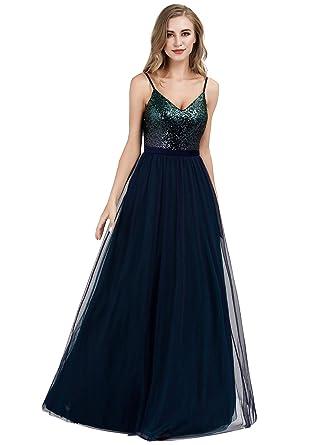8229759b704 Ever Pretty Women s Adjustable Spaghetti Straps V Neck Sequin Floor Length  A Line Tulle Evening Dresses
