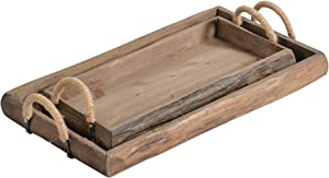 Sagebrook Home 13930 Wood Trays, Brown (Set of 2), 23.5 x 13.75 x 4.75 inches