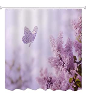 AMonamour Purple Backgrounds Flying Butterfly Lilac Flower Tree Nature Scenery Outdoor Landscape Print Waterproof