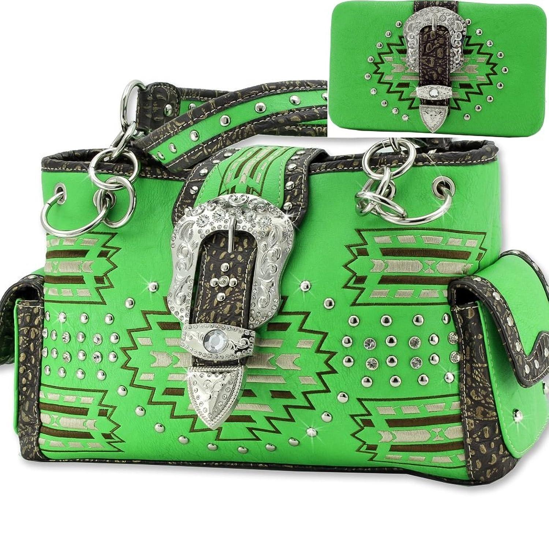 Western Concealed Carry Belt Buckle Aztec Purse Handbag W Matching Wallet
