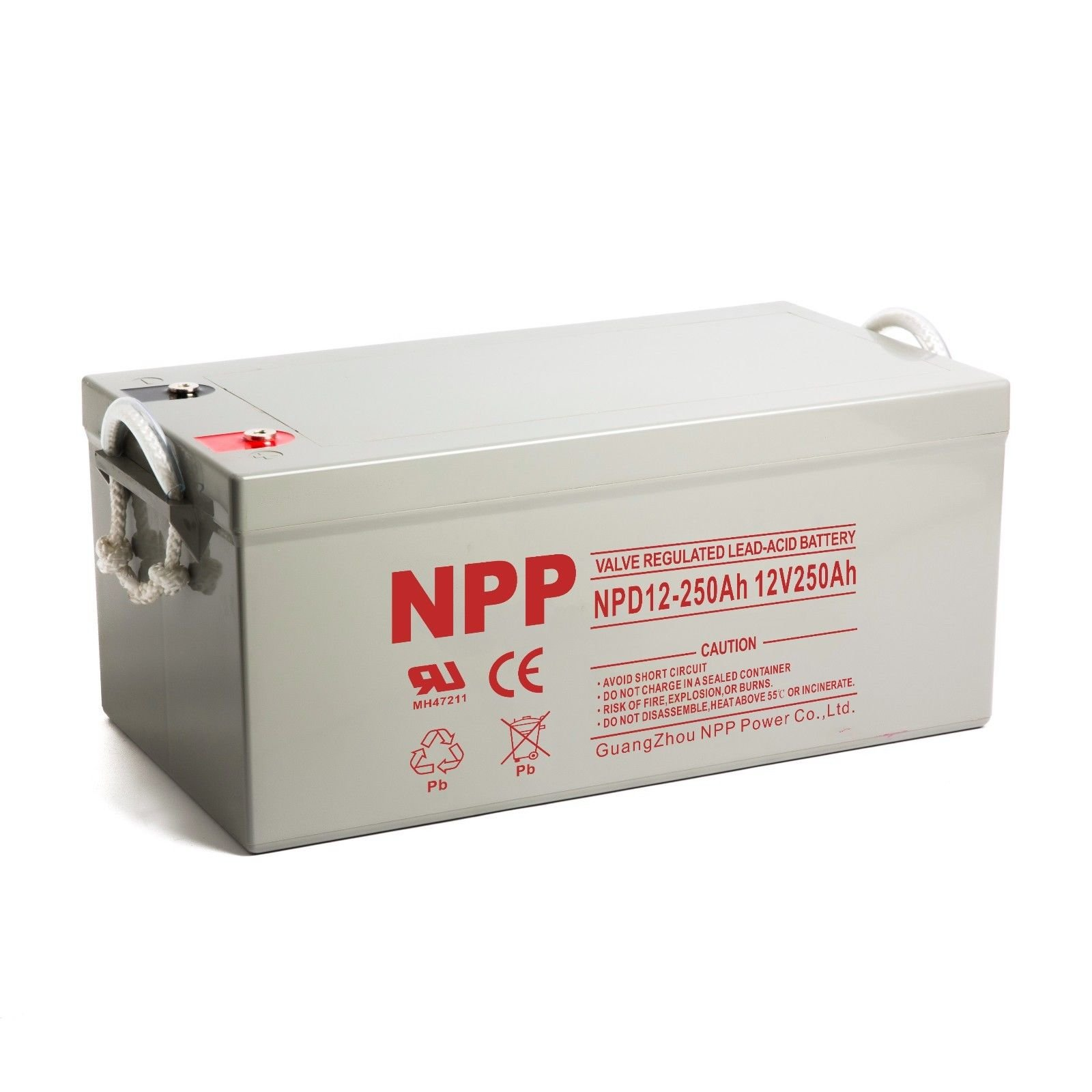 NPP NPD12-250Ah Rechargeable Sealed Lead Acid 8D Deep Cycle 12V 250Ah Battery with Button Style Terminals