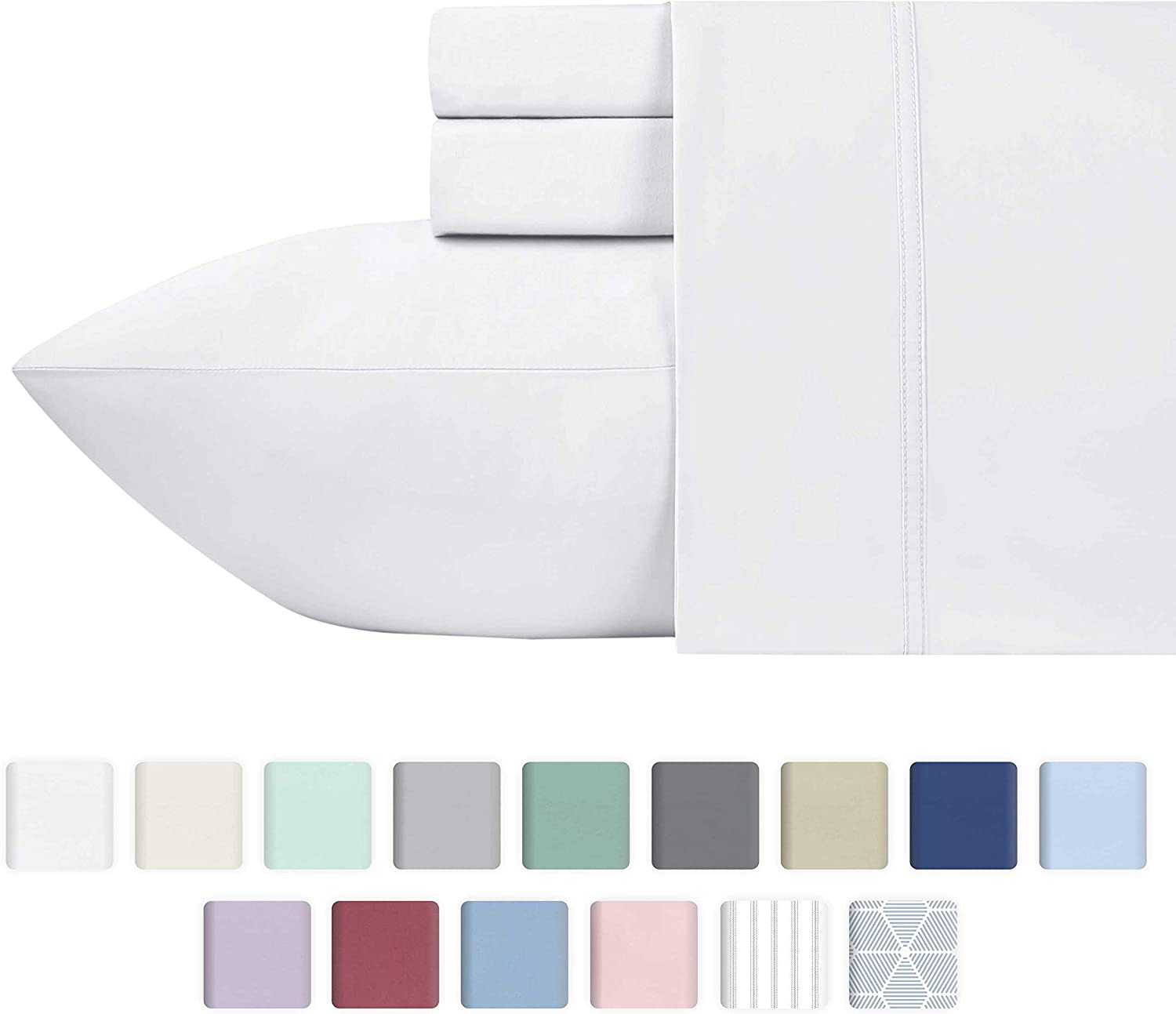 600-Thread-Count 100% Cotton Sheets - Pure White Long Staple Cotton Twin-Sheets for Kids & Adults, Fits Mattress Upto 17'' Deep Pocket, Sateen Weave, Soft Cotton 3 Piece Bed Sheet Set
