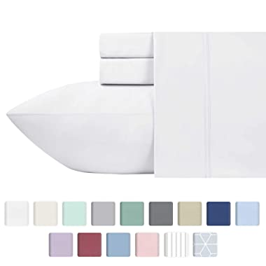 Premium 600-Thread-Count 100% Natural Cotton Sheets - 4-Piece California King Size White Sheet Set - Long-Staple Combed Cotton, Sateen Weave Bed Sheets, Fits Mattress Upto 18'' Deep Pocket