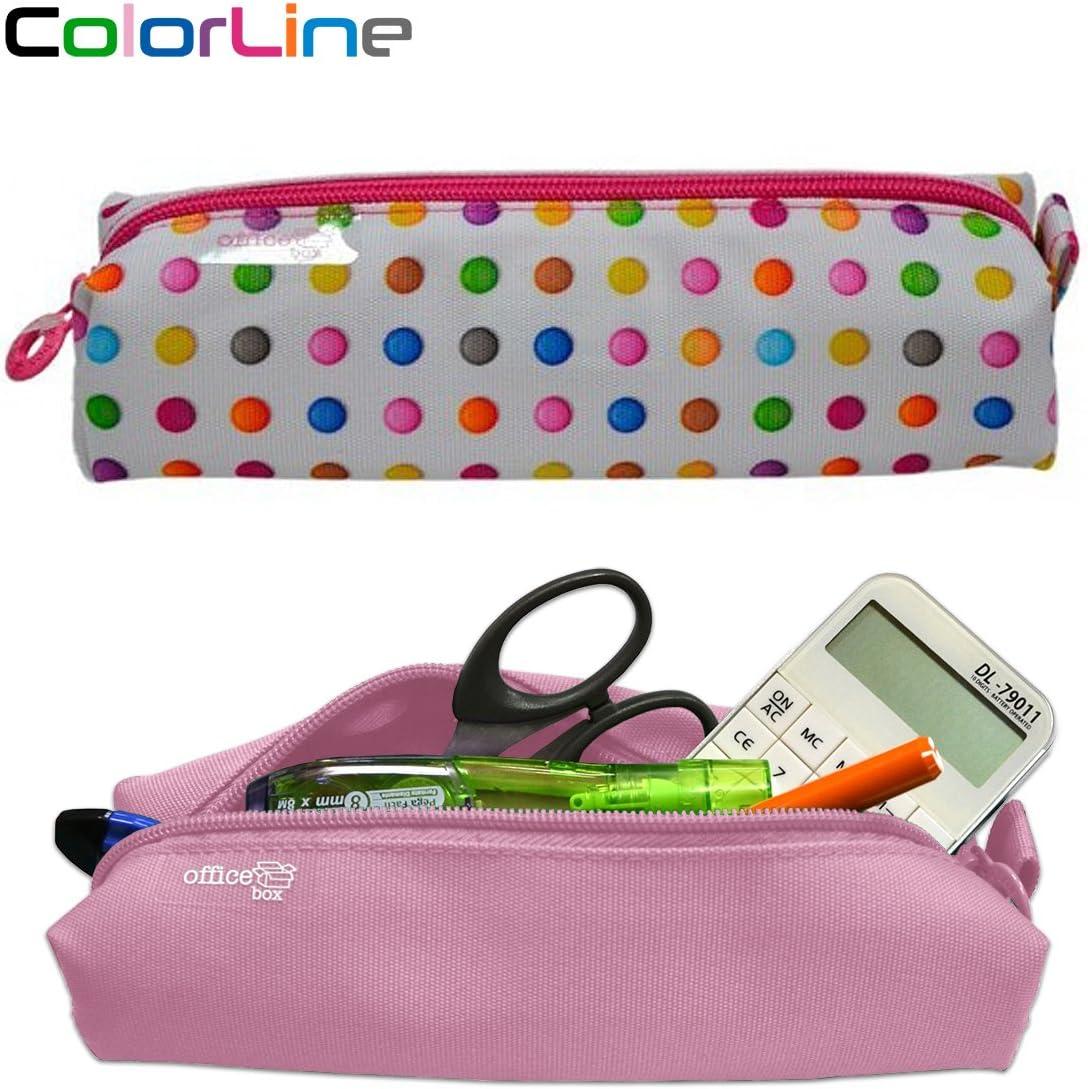 Colorline 59311 - Portatodo Cuadrado, Estuche Multiuso para Viaje, Material Escolar, Neceser y Accesorios. Color Puntos Colores, Medidas 22 x 6 x 5 cm: Amazon.es: Oficina y papelería
