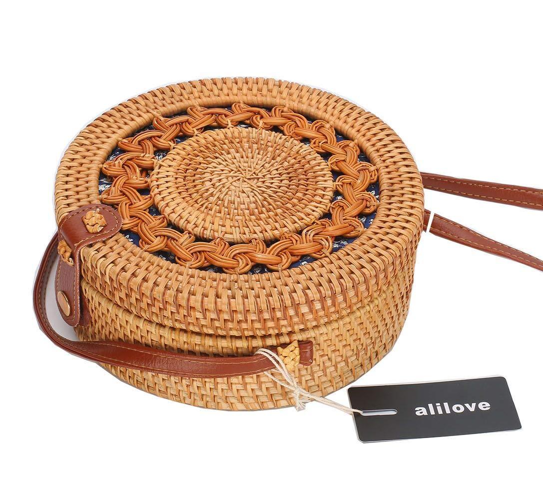 Rattan Boho Purse Handwoven Straw Bag (blue floral flower snap)