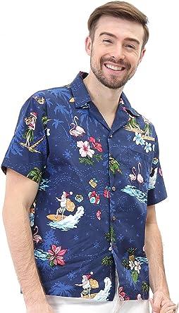 Camisa Hawaiana Hawaii para Hombres con Mangas Hawaianas Camisa Hawaiana Camisa de Navidad Santa: Amazon.es: Ropa y accesorios