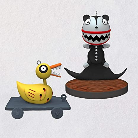 Hallmark Nightmare Before Christmas Ornaments.Hallmark Tim Burton S The Nightmare Before Christmas Scary Teddy And Undead Duck Ornaments Set Of 2 Movies Tv