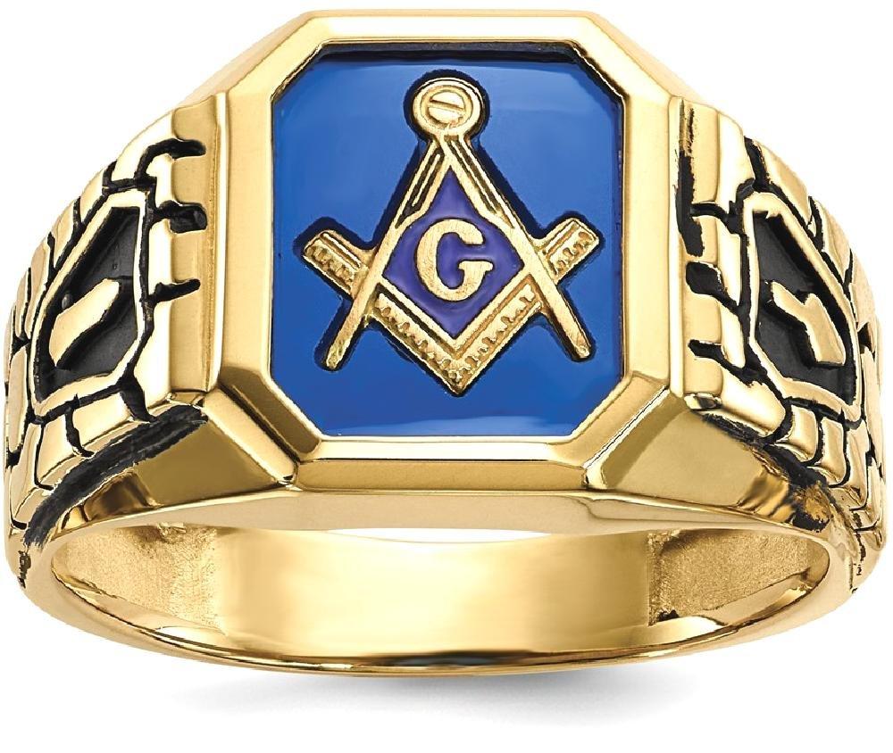 ICE CARATS 10k Yellow Gold Blue Acrylic Mens Masonic Freemason Mason Band Ring Size 10.00 Man Fine Jewelry Dad Mens Gift Set
