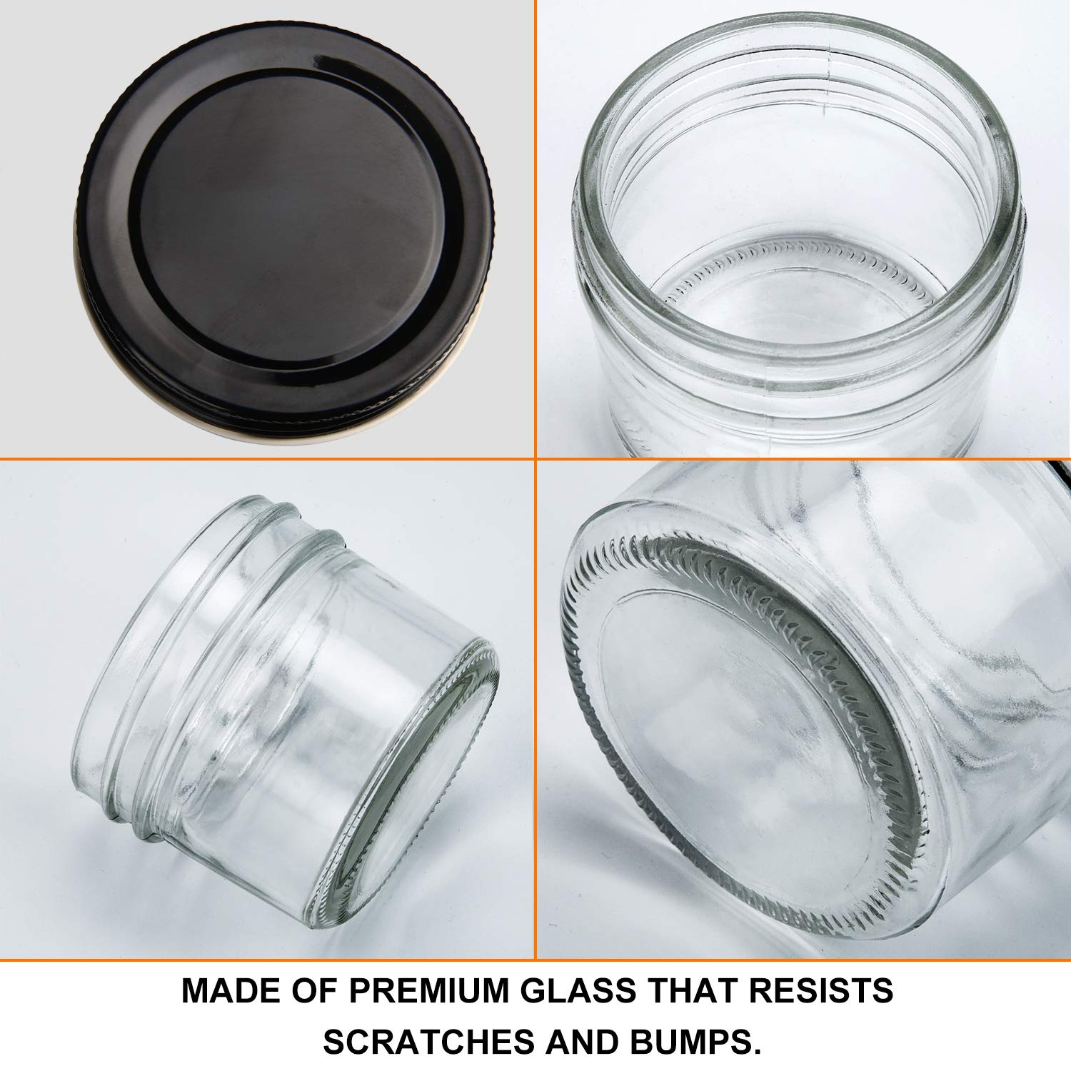 4oz Glass Jars With Lids,Small Mason Jars Wide Mouth,Mini Canning Jars With Black Lids For Honey,Jam,Jelly,Baby Foods,Wedding Favor,Shower Favors,Spice Jars For Kitchen & Home,Set of 40 by QAPPDA (Image #3)