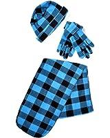 Women's Turquoise Polyester Fleece Plaid Winter Set