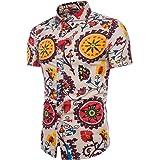 Sumen Men Hawaiian Short Sleeve Button Down Casual Slim Shirt Tropical Printed Blouse
