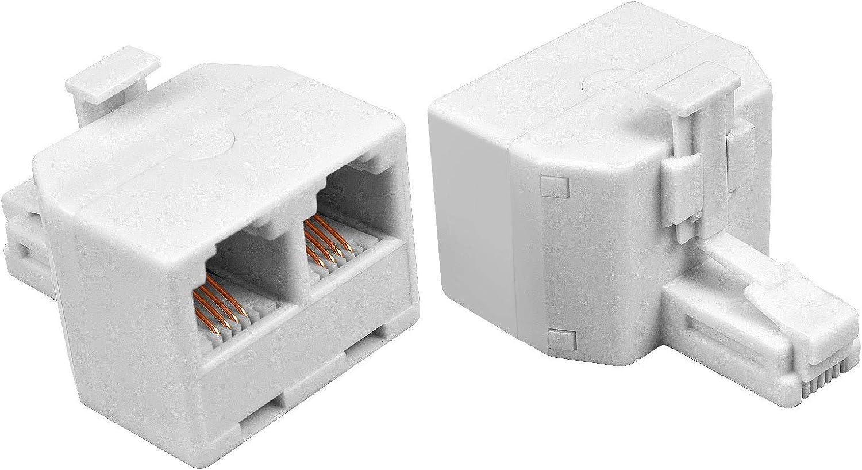 Phone Jack Splitter, RJ11 6P4C Duplex Wall Jack Phone Line Splitter, Telephone Splitter for Landline Fax Machine (2 Pcs)