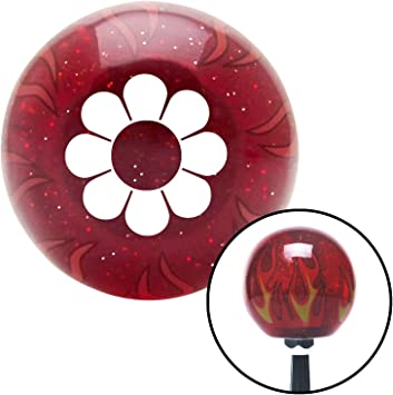 White Flower Power American Shifter 238117 Red Flame Metal Flake Shift Knob with M16 x 1.5 Insert