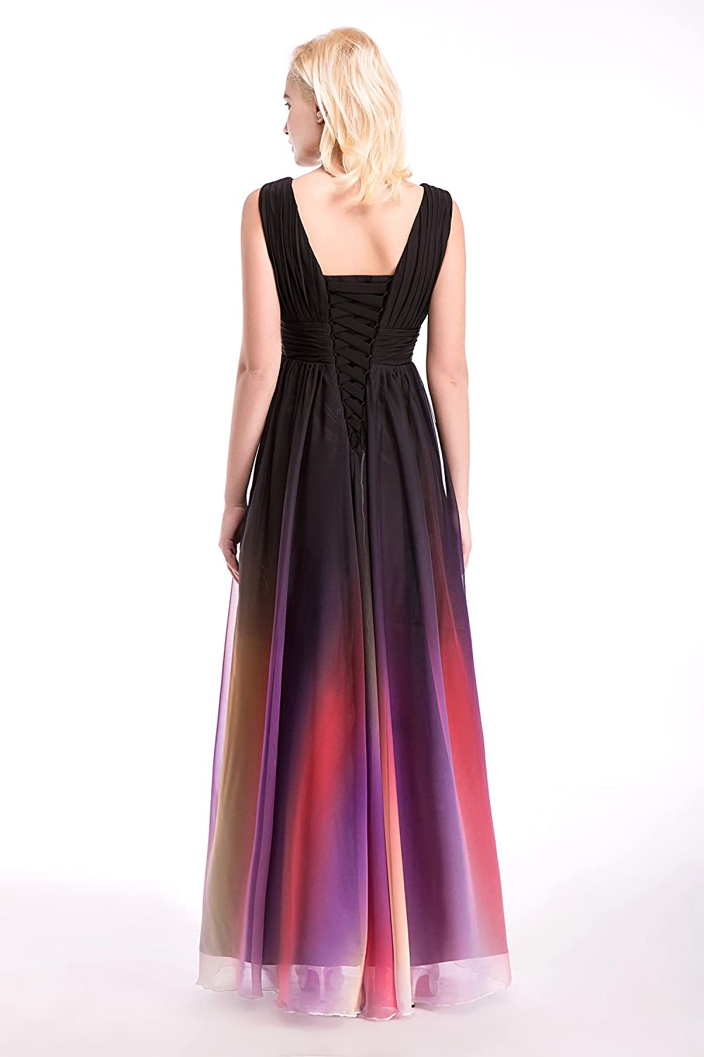 Dressystar Womens Ombre Chiffon Evening Dresses Long Prom Gown Assorted Necklines Size 30W C: Amazon.co.uk: Clothing
