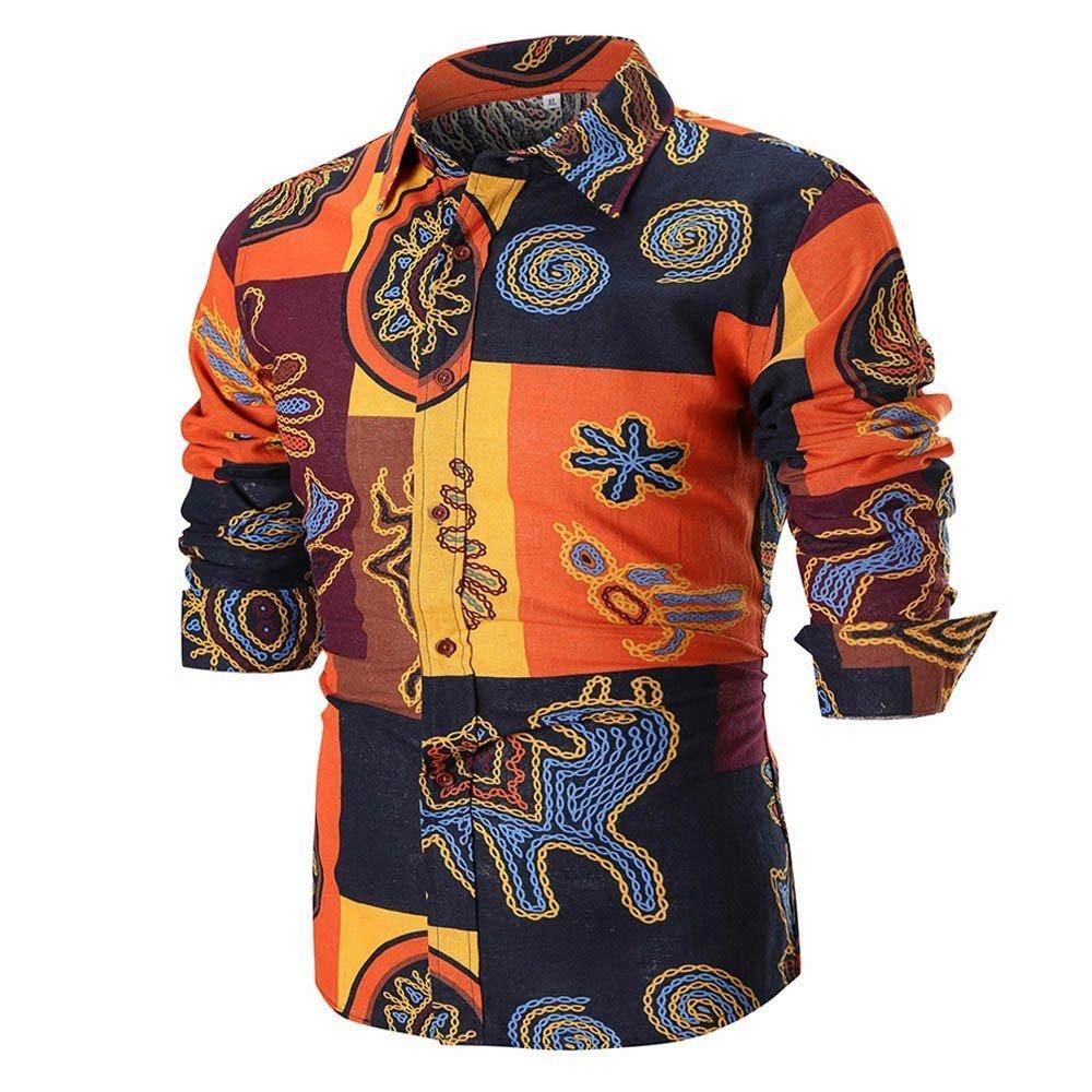 Farjing Men's Blouse Men's Summer Casual Slim Long Sleeve Printed Shirt Top Blouse(2XL,Black