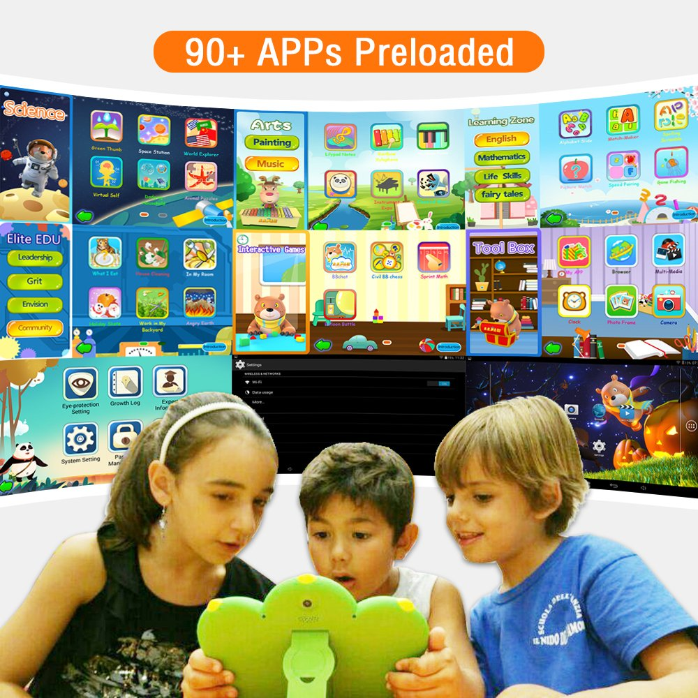 Kids Tablet, B.B.PAW 7'' Whole Brain Education Tablet para niños 2 to 6 Years Old with 90+ Preloaded Learning and Training Apps-Candy Pink by B.B.PAW  (Image #3)