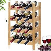 Lisuu 4-Tier Stackable Bamboo Wine Rack, 12 Bottles Nature Deals
