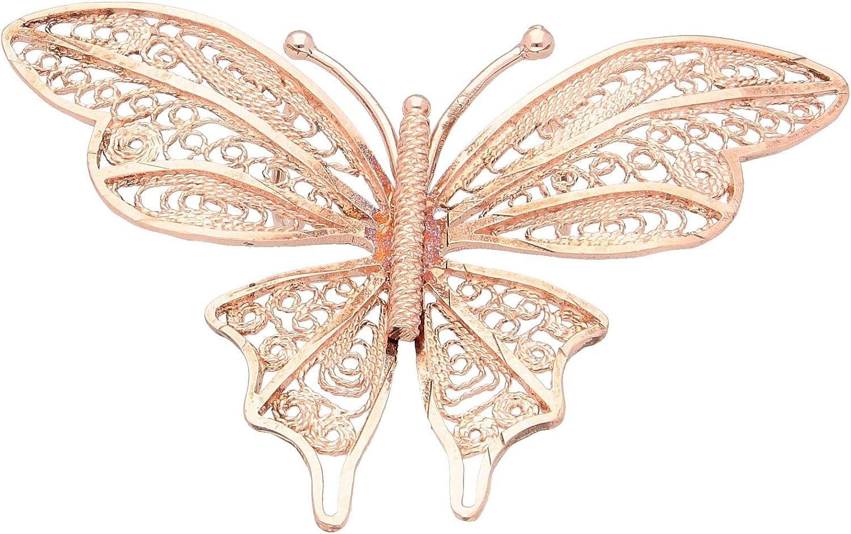 charms argentée papillon rose vif 17x20 mm