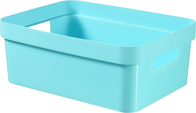 CURVER 226739 Infinity - Caja de almacenaje de plástico, 35,6 x 26,6 x 13,6 cm,11 litros, Azul: Amazon.es: Hogar