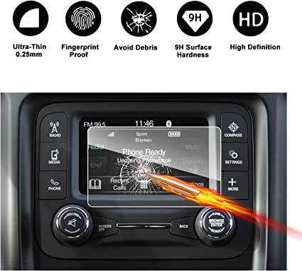 7-Inch RUIYA HD Clear TEMPERED GLASS Car In-Dash Screen Protective Film 2017 2018 Jeep Compass Uconnect Touch Screen Car Display Navigation Screen Protector