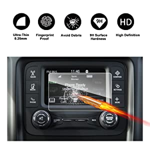 2017 2018 Jeep Compass Uconnect Touch Screen Car Display Navigation Screen Protector, RUIYA HD Clear TEMPERED GLASS Car In-Dash Screen Protective Film (5-Inch)