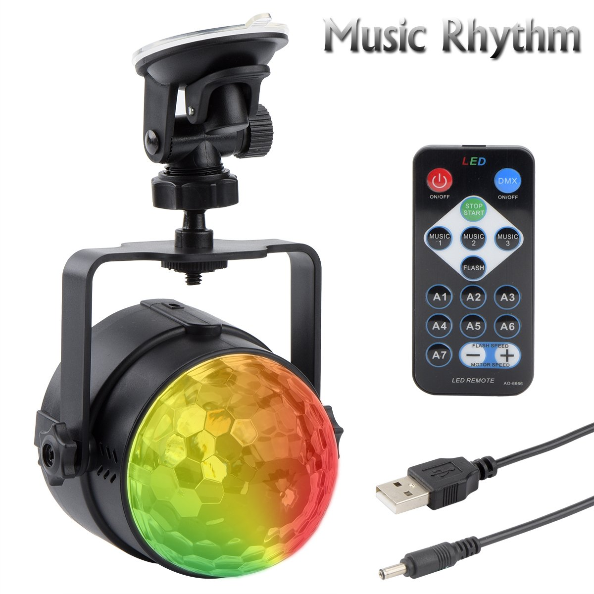 Autai USB Stage Light LED Disco Light Ball Music Rhythm RGB Multi Color Change Strobe DJ Light for Festival Birthday Home Party Bar Club Xmas with Remote Controller