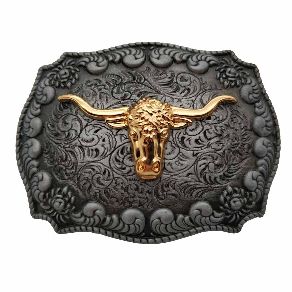 YONE Golden Long Horn Bull Western Belt Buckle Gürtelschnallen