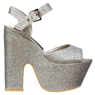 998552d548d3 Onlineshoe Ladies Demi Wedge Peep Toe Chunky Heels - Strappy Sandal - Silver  Glitter UK7 -