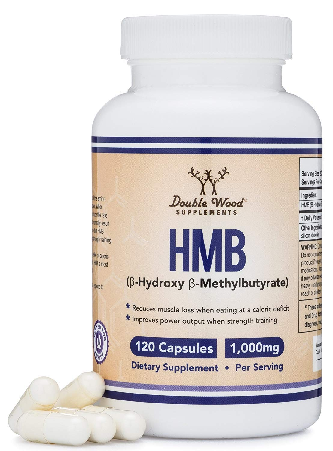 HMB Supplement, Third Party Tested, Made in USA, 120 Capsules, 1000mg per serving, 500mg per capsule.