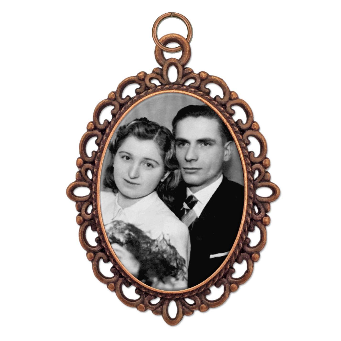 Bridal Wedding Bouquet Photo Charm Copper Picture Frame Memorial pjm