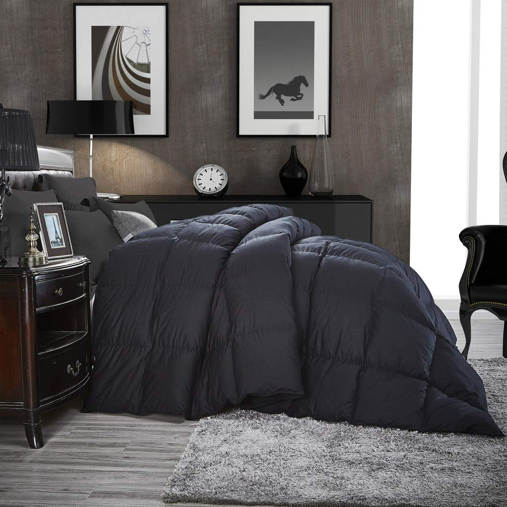Luxurious All-Season Goose Down Comforter King Size Duvet Insert, Classic Black, Premium Baffle Box, 1200 Thread Count 100% Egyptian Cotton Cover, 750+ Fill Power, 65 oz Fill Weight (King, Black) by Egyptian Cotton Factory Outlet Store (Image #1)