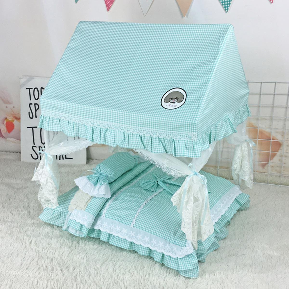 3 Lshanzhizui Pet tent Cat nest Washable Cat House Bomei Bichon Teddy dog Pet Princess Bed Closed type Kennel Pet mosquito net bed, C, XXL