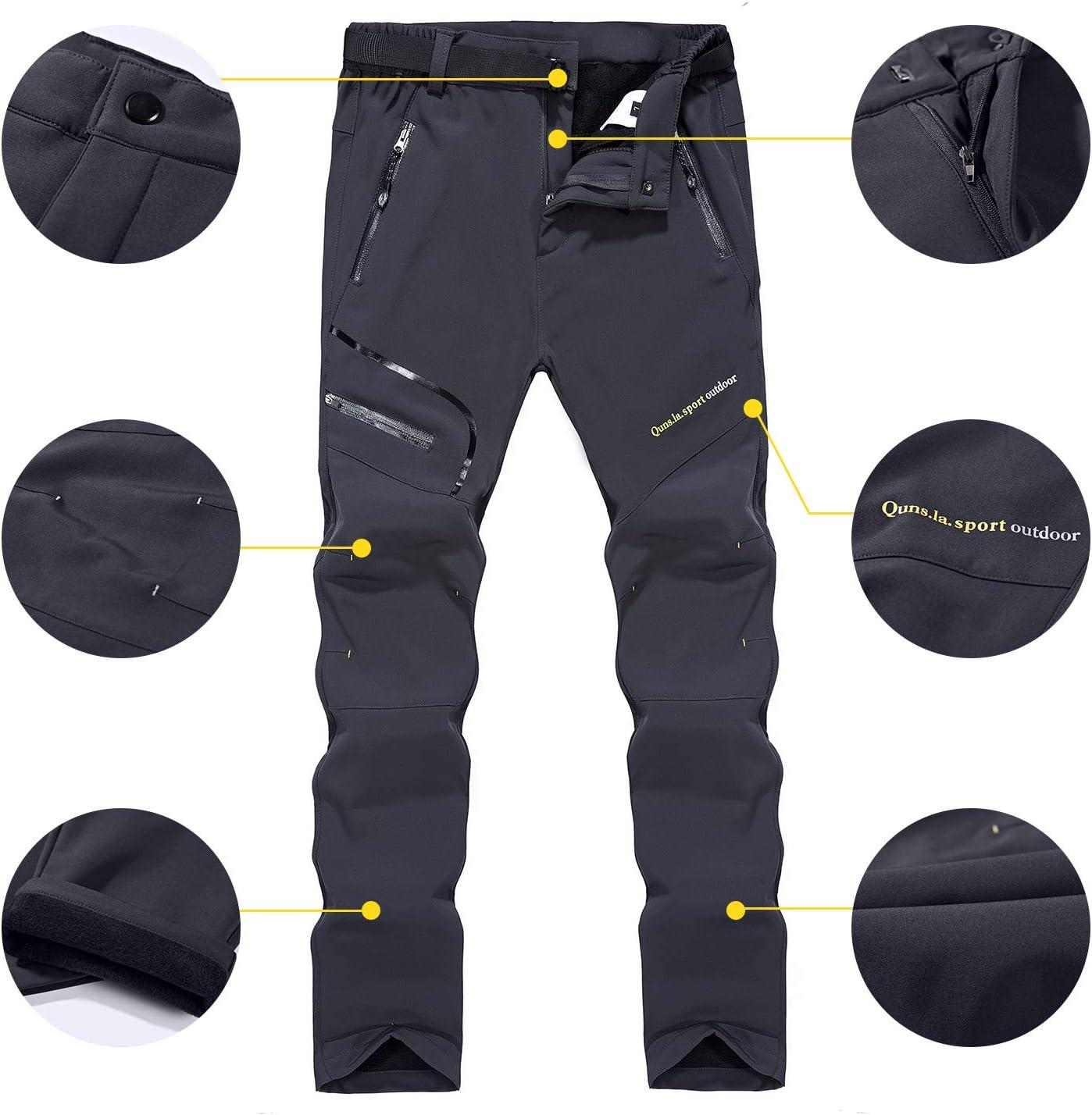 Naudamp Pantalones de Senderismo Forrados con Forro Polar de Invierno Softshell para Mujer Pantalones para Caminar Ligeros de Secado r/ápido al Aire Libre