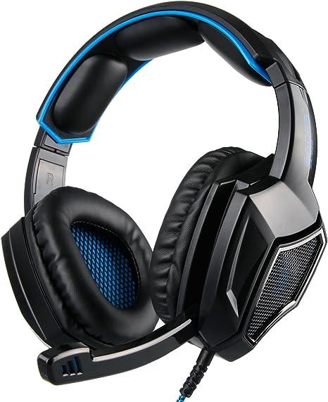 SADES SA 920 Pro de Sonido Envolvente estéreo PC Gaming Headset Auriculares con micrófono para PS4 Xbox 360 PC Mac iPhone teléfono Inteligente (Azul): Amazon.es: Electrónica